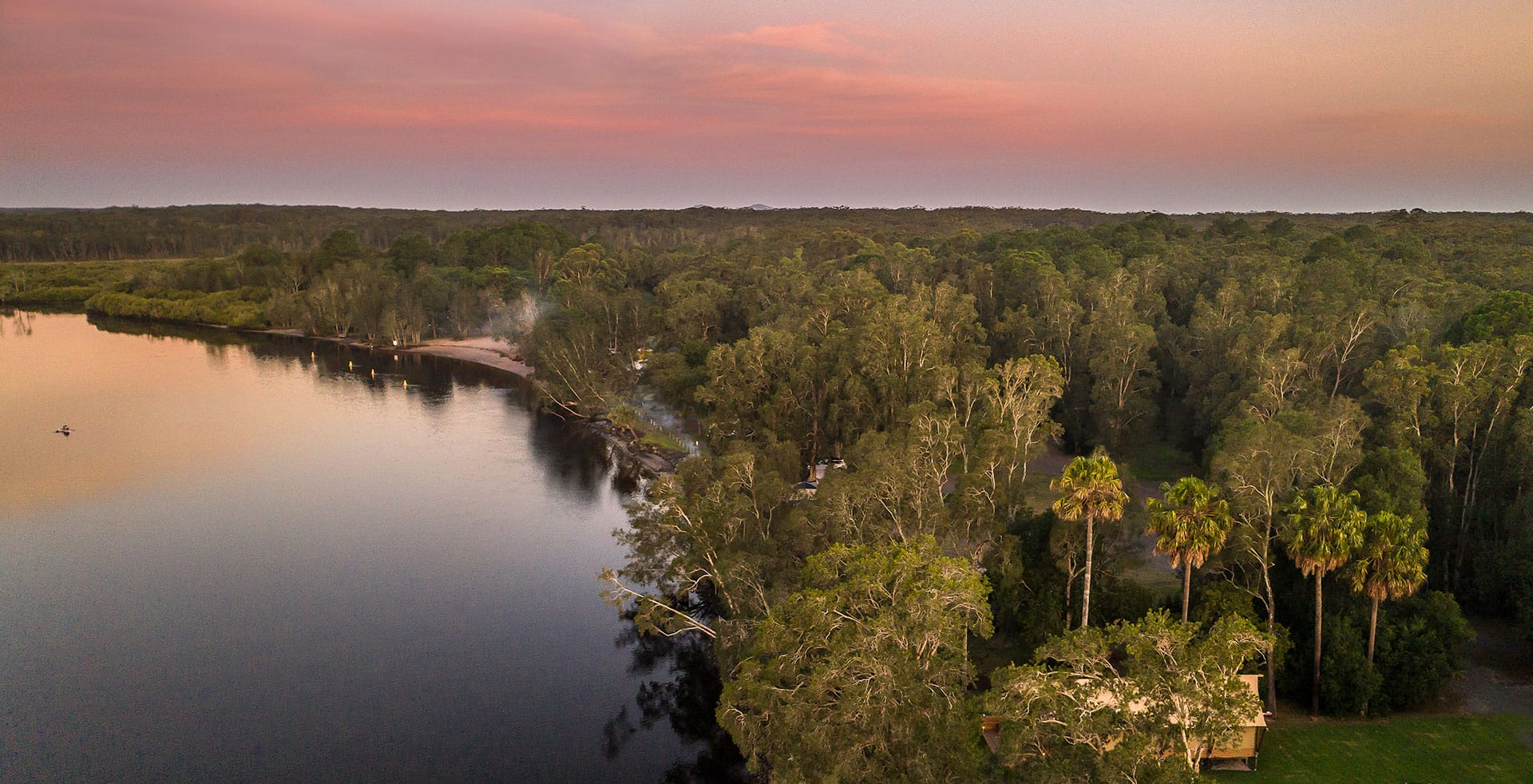 Myall River Camp | Connect with Nature, Hawks Nest, NSW Mid North Coast, glamping tents, tiny houses, campsites, sunset